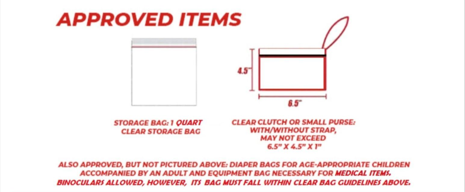 Strict Clear Bag Policy Graphic