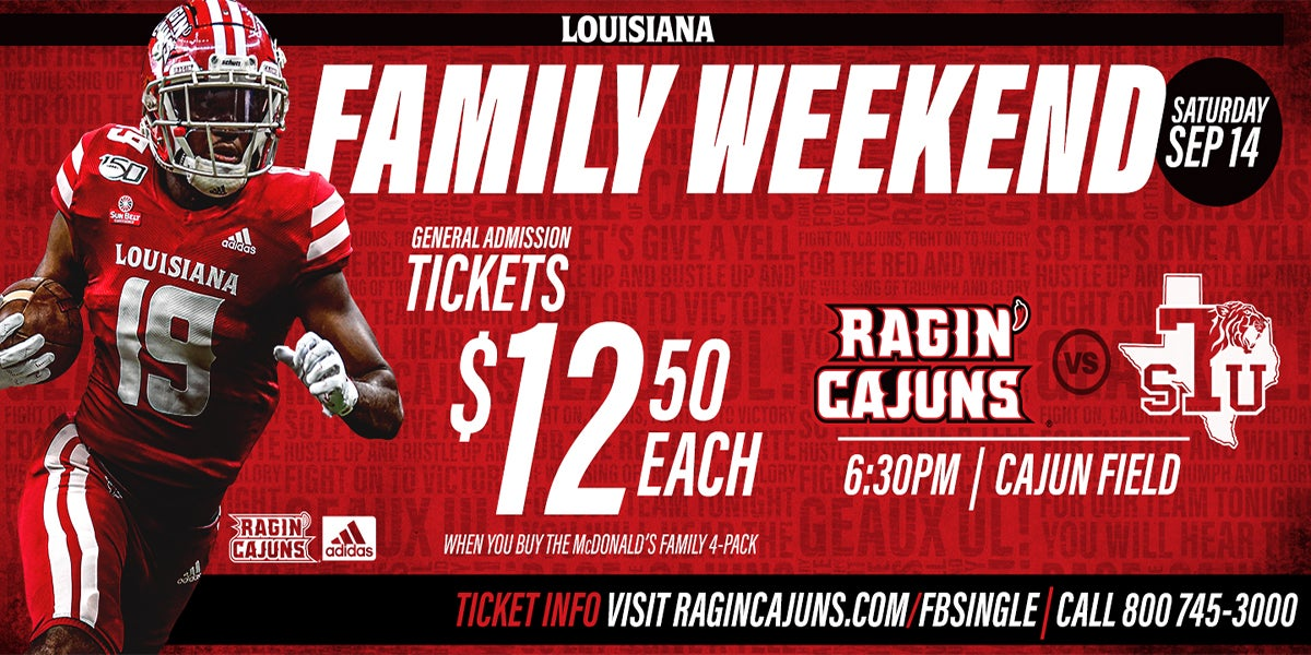 LOUISIANA RAGIN' CAJUN FOOTBALL VS. TEXAS SOUTHERN